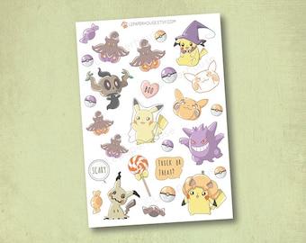 Pokemon Halloween Stickers - Kawaii Chibi Pokemon planner stickers, EC stickers, Personal Planners