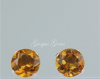 MothersDaySale Madeira Citrine Stud Earrings Sterling Silver 6mm Round 1.55ctw