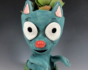 Hula Cat // Hawiian // Adorable // Grass Skirt // Succulent Pot // Cat Planter // Ceramic Pot // Cat Lover // Adorable // Turquoise // Dance