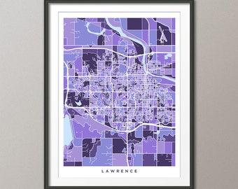 Lawrence Map, Lawrence Kansas City Map, Purple Art Print (3511)