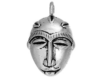 Ethnic African silver-plated 3.6 cm x2.4cm wall mask charm