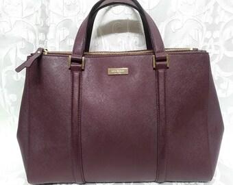 Kate Spade New York Purple Rose Cow Leather Handbag Large Purse