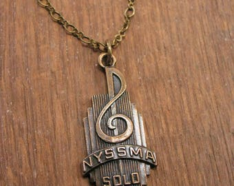 Music Jewelry - Treble Clef Vintage Award Medal Necklace - New York State School Music Association