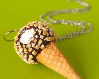 Drumstick Jewelry, Ice Cream Necklace, Ice Cream Jewelry, Clay Food, Food Jewelry, Miniature Food Jewelry, Drumstick Necklace