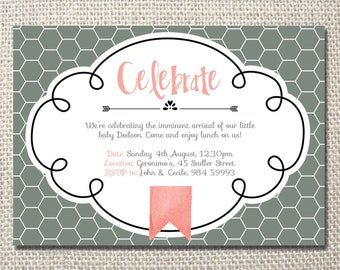 Baby arrival get together grey and blush party printable invitation