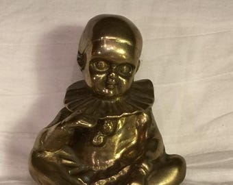Brass Art Deco Baby Pierrot Clown