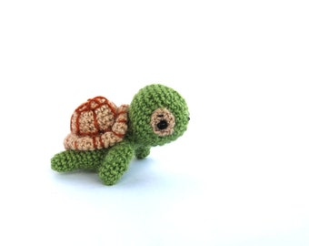 crochet mini turtle, amigurumi miniature turtle, little stuffed tiny turtle toy, crochet kawaii animal, green toy for children, olive green