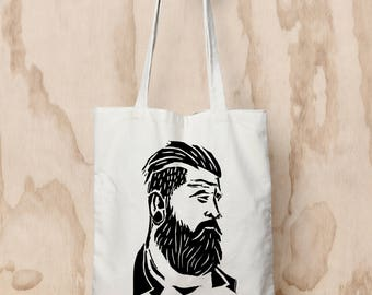 LAST ONE - Hipster screenprinted Tote Bag, black and white, nature print