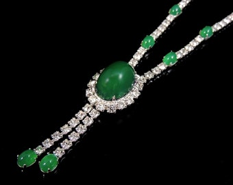 Emerald Glass Cabochon Rhinestone Necklace Vintage EXCELLENCE
