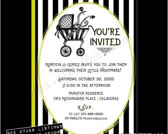 BEBE MONSTER / Gender Neutral Baby Shower Invitations or Birth Announcements