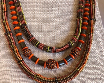 Three strand bead weaved and beaded Beads necklace