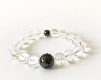 Tourmalinated Quartz & Magnetic Hematite Bracelet (4)