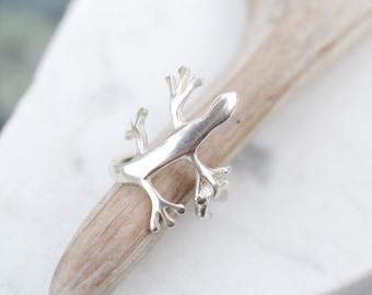 Sterling Silver Lizard Ring, Sterling Lizard Jewelry, Sterling Silver Gecko Ring, Sterling Gecko Jewelry, Figural Sterling Animal Ring
