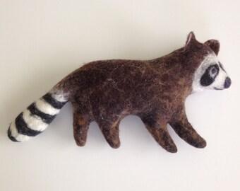 Felt Raccoon, woodland stuffed animal, handmade art toy, soft sculpture, stuffed animal companion, eco friendly, home or nursery decor