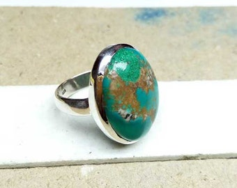 Natural Turquoise ring, sterling silver ring, gemstone ring, 925 silver ring, handmade ring, gift for her, statement ring size 6.25