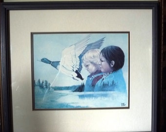 """Indigenous Art, Sweet and Charming Children Portraits, Metis Wilderness Lithograph by Eddie Le Page """"Blood Brothers"""" 1980's"""