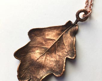 Real Oak Leaf Necklace Copper Electroformed