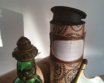 Message in a bottle, green bottle with leave motive. With scroll and shipping tube