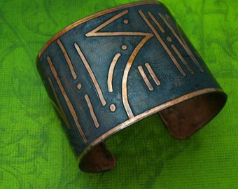 Primal Cuff, Etched Tribal Art or Your Own Art or Message, One Of A Kind, Copper, Message Cuff, Made To Order