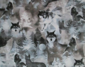 Spirit Animal Wolf Wolves Moon Blue Green Tan Cotton Fabric Fat Quarter or Custom Listing