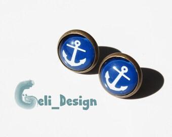 Cabochon earrings anchor blue white maritim