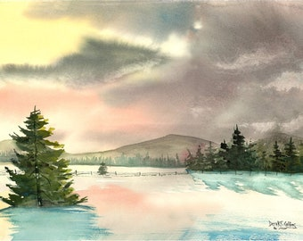 Snow painting watercolor landscape PRINT  winter snow at sunset pine  GICLEE reproduction 8x10