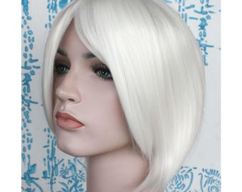 White short wig with long side bangs. high quality smooth wig. ready to ship.