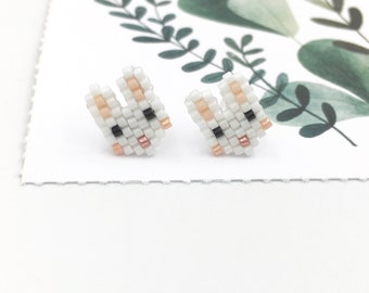 Simple Stud Earrings cute white bunnies