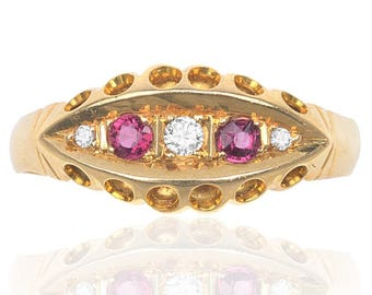 Antique Ruby and Diamond Gypsy ring
