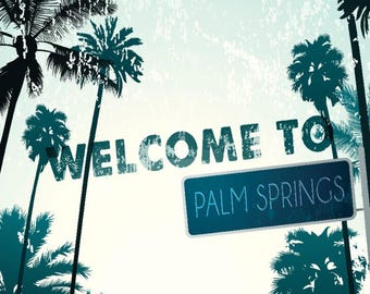 Palm Springs, California - Street Sign & Palms - Lantern Press Photography (Art Print - Multiple Sizes Available)