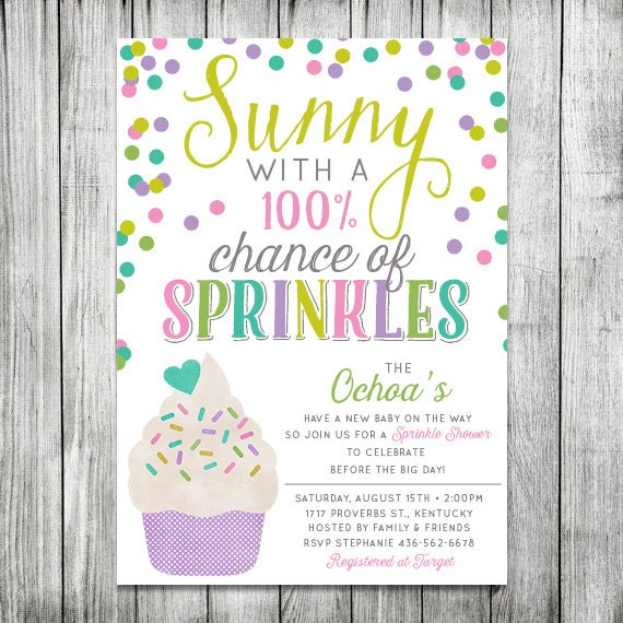 Sprinkle baby shower invite sunny with 100 chance of filmwisefo Gallery