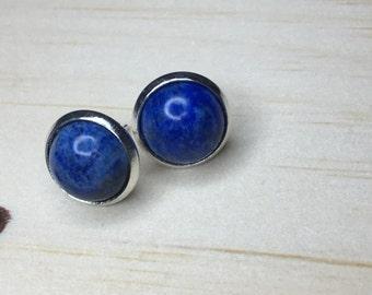 Blue Lapis Lazuli, Half Moon Cabochon, Gemstone Stud 12mm, Earring Cabochon, Circle Round Stud, Earring Gemstone Blue, Ear Stud Lapis Lazuli