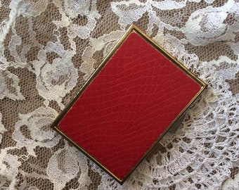 Vintage 1960s 1970s Compact Pill Medicine Box Purse Size Reptile Embossed Red Faux/Fake Leather Gold Tone Metal 5 Compartments