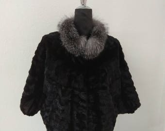 Mink Fur Jacket, Real Fur Jacket, Real Mink Fur, Black Mink Jacket, Fur Jacket With Silver Fox Collar