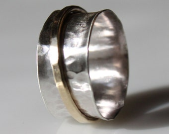 Hammered Silver and Brass Spinner Ring