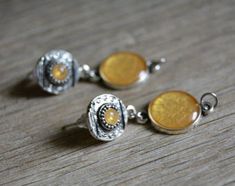 Small yellow earrings in silver cabochon and dangle earrings yellow earrings mother's day MOM
