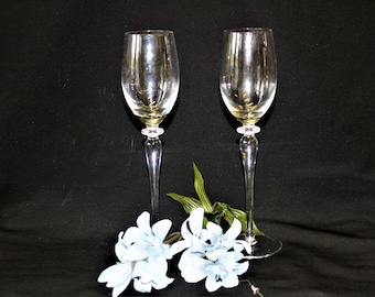 """Vintage Set Of 2 Tall Thin Crystal Tulip Wine Glasses, Wafer & Bulbous Stems 9 1/4"""" Tall In Excellent Condition, Replacement  Or Toasting"""