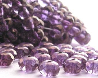 25 Czech Glass Gemstone Donuts 9x6mm Luster - Transparent Amethyst CZF046