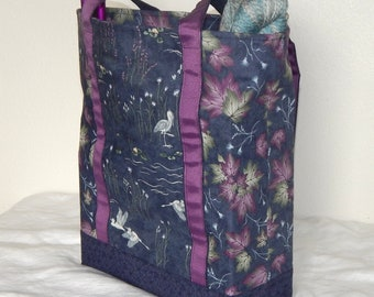 Large zippered tote bag, zippered interior pocket, fully lined, extra long straps, heron, leaves
