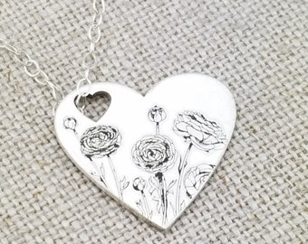 Flower Heart Necklace · Cutout Heart Necklace ·  Handwriting Jewelry · Ranunculus Jewelry