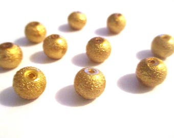 10 Golden glitter glass 8mm beads