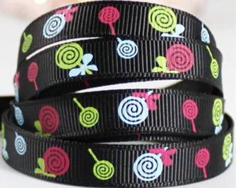 4.5 yards Ribbon grosgrain 10 LOLLIPOPS ❉ ❉ black + fuchsia