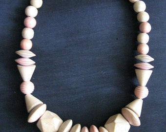 Wood Bead Necklace Vintage 80s