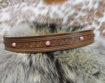 Handmade Leather Hat Band, Tooled Leather Hat Band with Coral Spots, Adjustable Hat Band