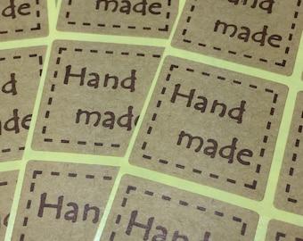 20/40/60/80/100 Handmade Stickers, Kraft Stickers, Handmade Stickers, 20 Count, Kraft Labels