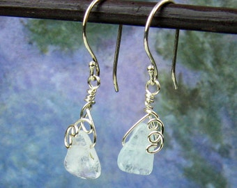 Dangle Earrings, Aquamarine Crystals, Silver Wire Wrapped, Pale Aqua, Cascading Spirals, Delicate, Elfin Earrings, Handmade Jewelry, Gift