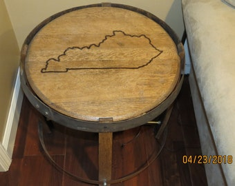 Handcrafted bourbon barrel end table