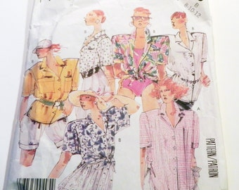 """1980s Oversized blouse shirt Short sleeves sewing pattern McCalls 3128 Size 8 10 12 Bust 31.5 32.5 34"""""""