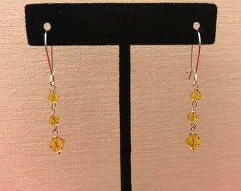 Earring yellow Swarovski crystal in sterling silver