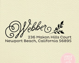 self inking address stamp, return address stamp, wedding gift address stamp, housewarming gift, Unique stamp style 441 - Lovely Little Party